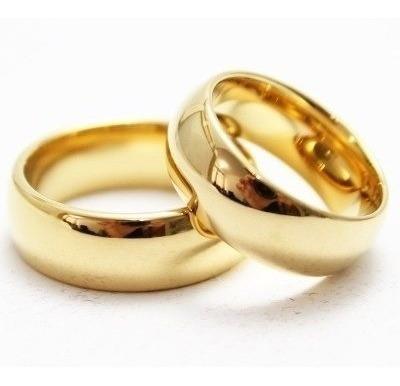 Par De Alianças Casamento Noivado 6mm Aço Banhadas Ouro 18k