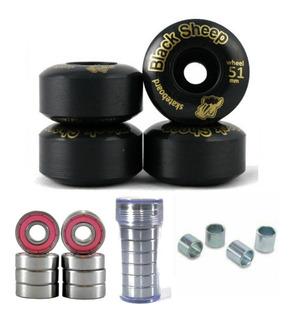 Rodas Skate Black Sheep 51mm 99a + Rolamentos Abec 15+ Espaç