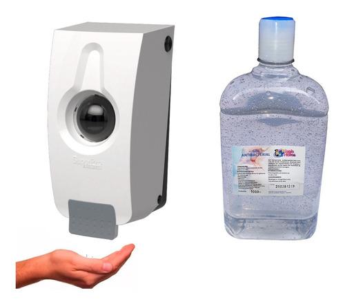 Imagen 1 de 3 de Kit Dispensador Push 800 Ml + Gel Antibacterial 1000ml 70% A