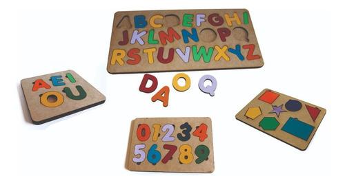 Imagem 1 de 6 de 4pçs Tabuleiro Alfabeto+números+vogais+forma Geométrica