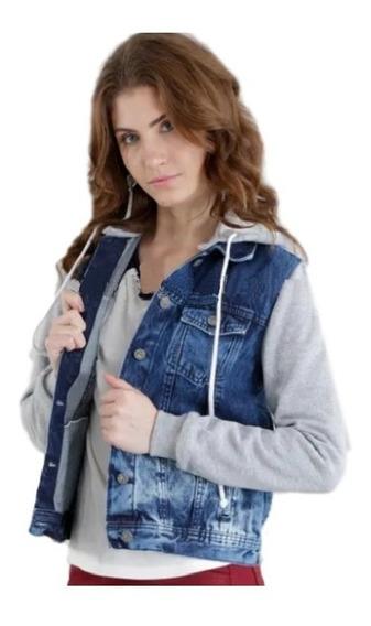 Jaqueta Jeans Feminina Manga Moletom Capuz Inverno Blogueira