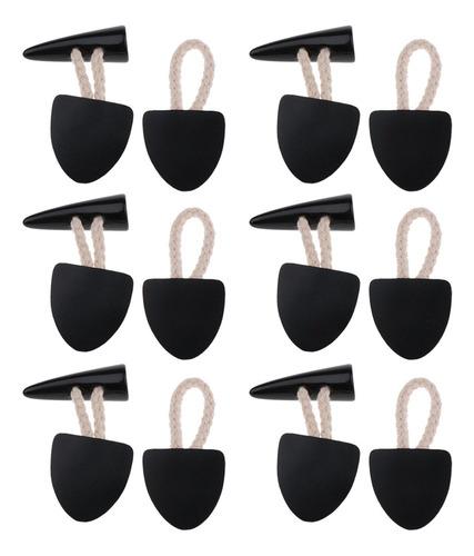 Imagen 1 de 8 de 6 Pares De Botones De Palanca De Cuerno De Cuero Negro Pu