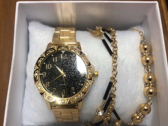 Relógio Feminino Dourado Brilhante + Pulseira C/ Caixa