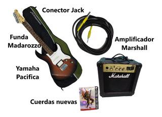 Combo Guitarra Yamaha, Amp. Marshall, Funda, Cuerdas Y Cable
