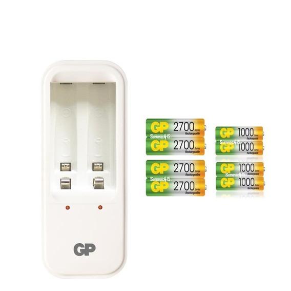 Cargador Con 8 Baterias Recargables Aa/aaa Gp 2700/1000mah.