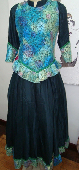 Vestido De Prenda Gaúcha - Tam M - Com Renda E Saia Armação