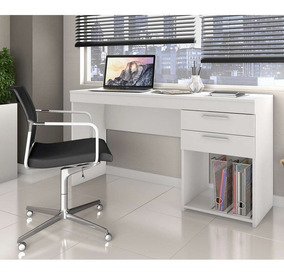 Kit Escritório Com 2 Mesas Office E 1 Armário Uruguai Branco