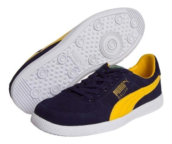 Tenis Puma Couro Dallas Azul Marinho E Amarelo