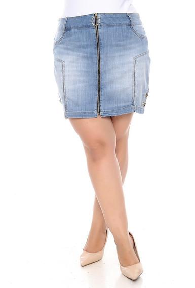 Saia Plus Size Jeans De Zíper Frontal