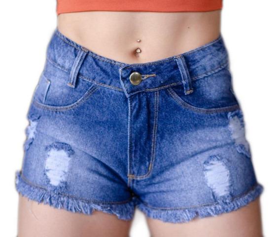 Short Jeans 100% Algodão Destroied Levanta Bumbum Barato