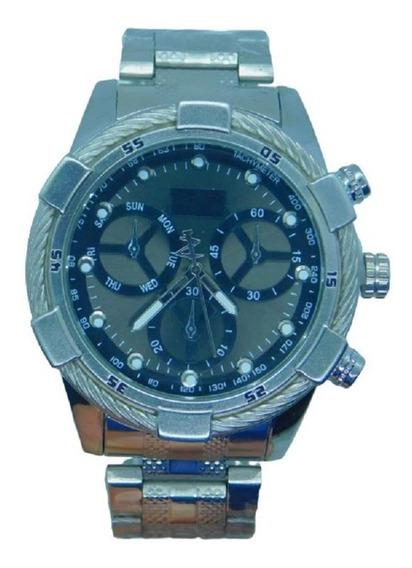 Relógio Prata Masculino Ostentação Pesado Luxo Mais Caixa