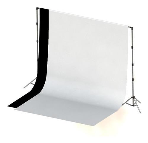 Imagem 1 de 5 de 2 Tecidos 2x3 Preto / Branco + Suporte Fundo Infinito Foto C