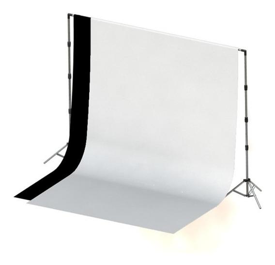 2 Tecidos 2x3 Preto / Branco + Suporte Fundo Infinito Foto C