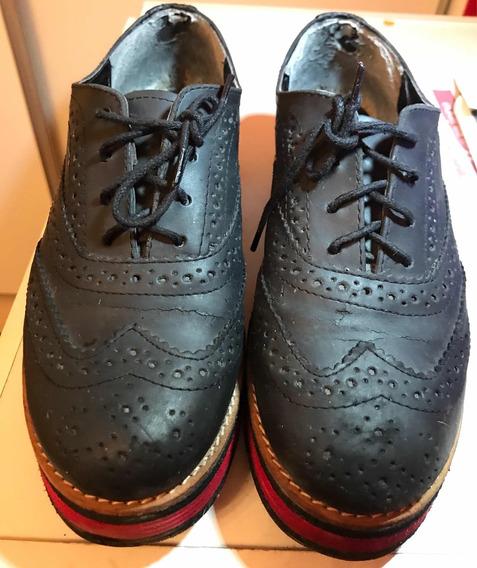 Zapatos Abotinados Acordonados Nazaria Negro Talle 39