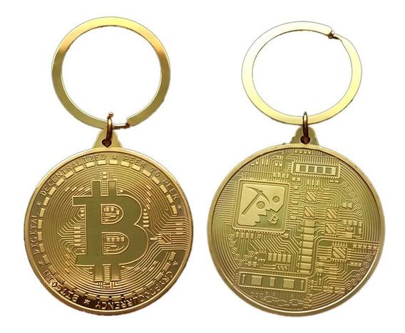 Chaveiro Moeda Dupla Face Bitcoin Digital Mineração Coleção