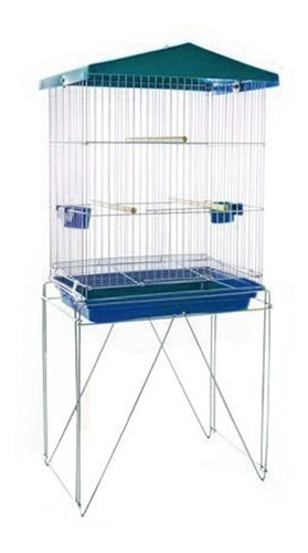 Viveiro Pássaros Dobrável Contrera Prata Bandeja Azul