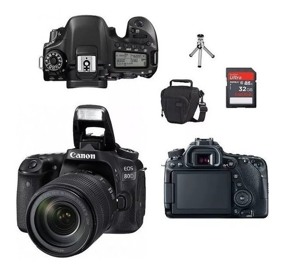 Canon Eos 80d+lente Canon 18-135mm Nano+bolsa+tripé+32gb+nfe