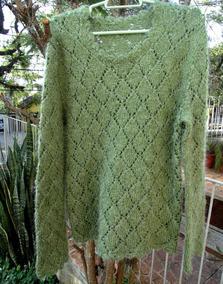 Blusão De Lã Tricotado A Mão (modelo Túnica)
