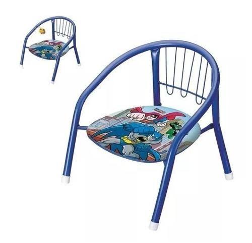 Cadeira Infantil Super Herois Metal C/ Apito No Assento Boa!