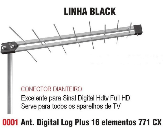 Kit Antena Externa Digital Log Plus-16 Digital/uhf + Suporte