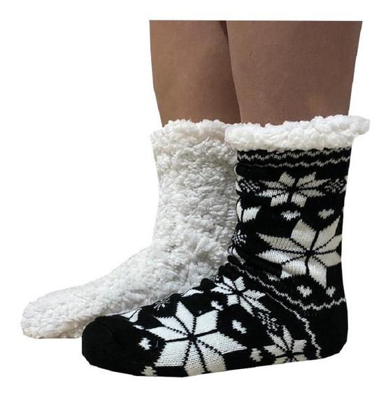 Meia Inverno Forrada De Lã Com Antiderrapante Feminina