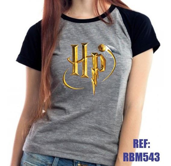 Camiseta Raglan Baby Look Harry Potter Quadribol Hp Mescla