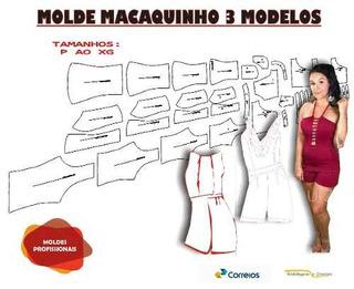 Kit Moldes Macaquinho 3 Modelos Frete Gratis, Todos Os Tam.