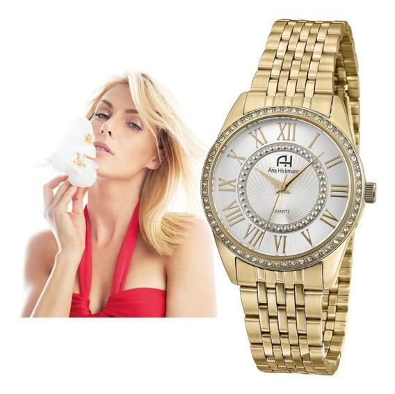 Relógio Ana Hickmann Feminino Dourado Original Ah29034h