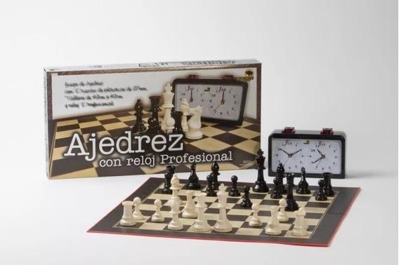 Ajedrez Juego Con Reloj Piezas Madera 49x49cm Dia Del Padre
