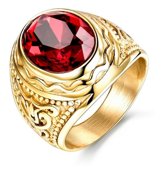 Anillo Hombre O Mujer Acero Modelo Alejandría - Piedra Roja