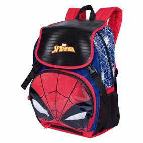 Mochila Escolar Spider Man C/luz + Capa Protetora Sestini