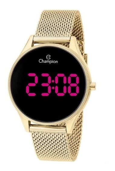 Relógio Champion Digital Led Dourado Feminino Ch40133h