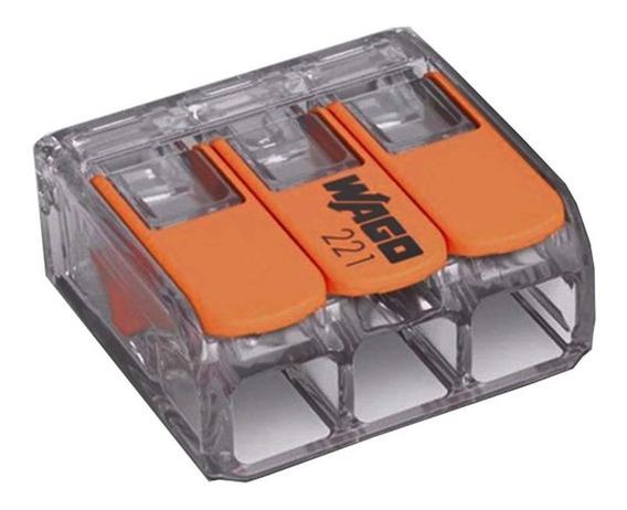 Conector Automático Tripolar 221-413 Transparente 50 Peças W