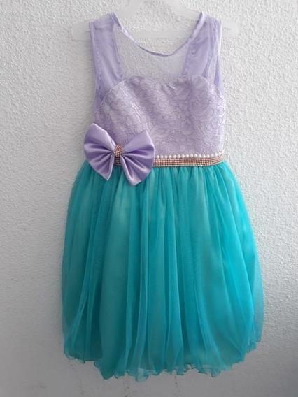 Vestido Infantil Luxo Pequena Sereia Ariel 4 Ao 12 +luva