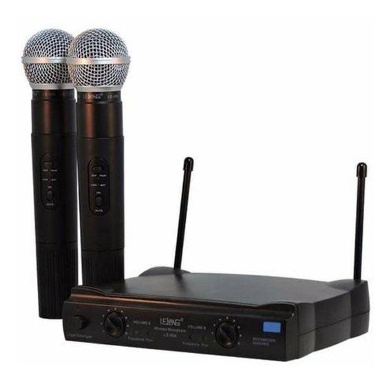 Microfone Sem Fio Duplo Uhf 50 Metros 906 110/220 Top!!!