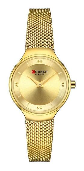 Relógio Feminino Curren Analógico C9028l - Dourado