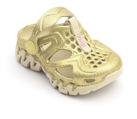 Babuche Plugt Reax Gliter Infantil - Creme/dourado
