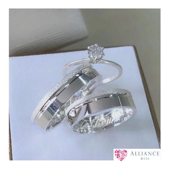 Par De Alianças Namoro Compromisso Em Prata 950 + Solitário