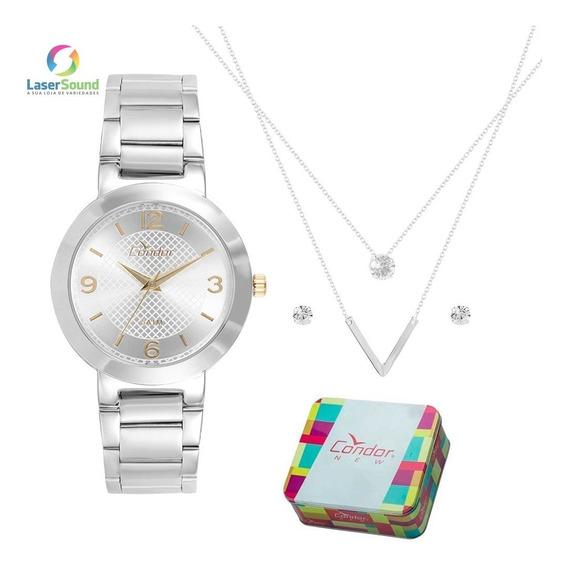 Kit Relógio Condor Colar E Brincos Bracelete Co2035klo/k3k