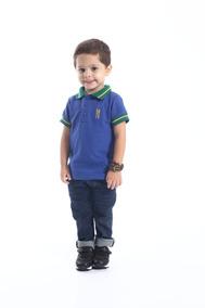 Camisa Polo Masculina Infantil Azul Copa Do Mundo