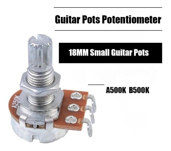 Kit 10 Potenciômetros A500k Ou B500k Eixo Longo 18mm