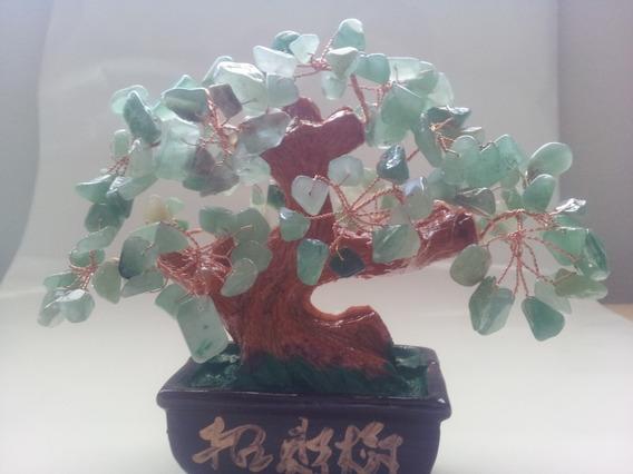 Bonsai Artificial Em Pedra Cristal Verde Decoração Ambiente