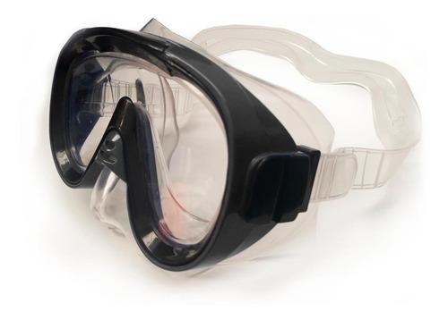 Kit De Mergulho Mascara Snorkel C Valvula Quebra Onda Preto