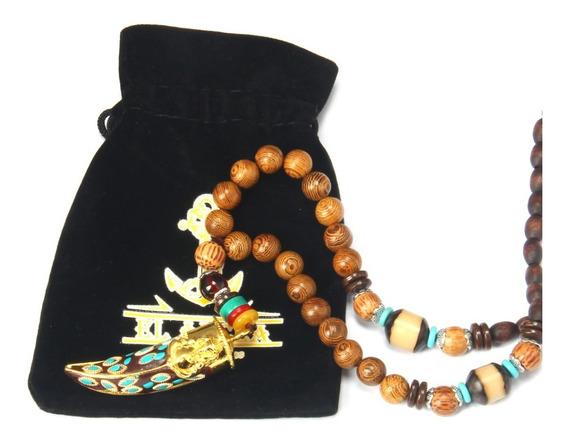 Collar O Pulsera Tibetana Madera Rezo Budista Buda Rosario