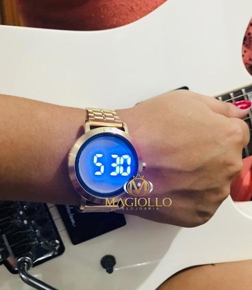 Relógio Dourado Digital Led Azul Euro Feminino Eubj3407aa/t4p Sabrina Sato + Pulseira Silicone Preta Original