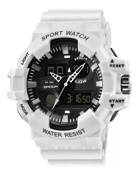 Relógio Masculino Sport Watch Estilo Militar Sanda Branco