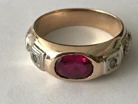 Anel Formatura Direito, Ouro 18k 7.1gr., Rubi E/diamantes