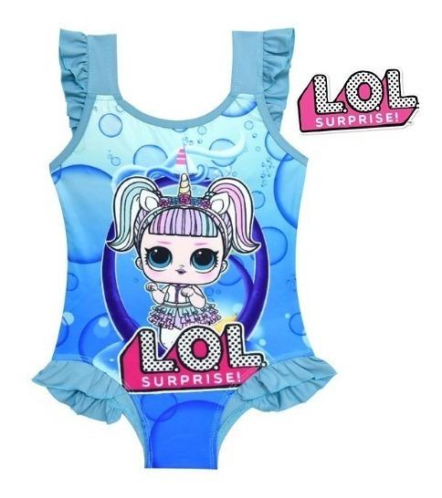 Traje De Baño Lol Surprise Niñas 3 A 10 Años Unicornio Azul