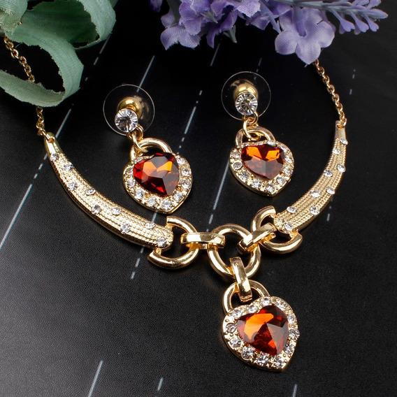Lindo Conjunto Colar + Brincos Dourado Com Cristal Austríaco