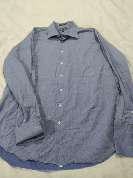 Camisa De Mancuernillas Paul Fredrick Talla 2xl Azul A Rayas